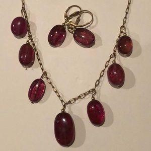 Pink Tourmaline Cabochon Gem Necklace/Earrings Set